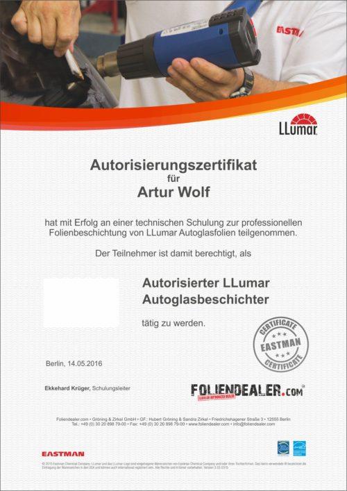 Zertifikat LLumar Scheiben tönen
